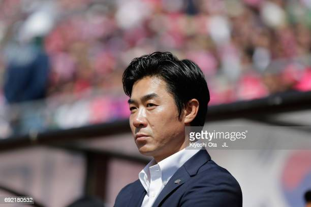 Head coach Yoon Jung Hwan of Cerezo Osaka looks on prior to the JLeague J1 match between Cerezo Osaka and Albirex Niigata at Kincho Stadium on June 4...