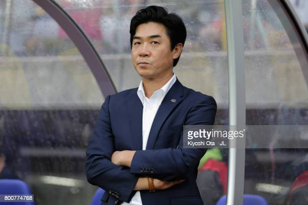Head coach Yoon Jung Hwan of Cerezo Osaka looks on prior to the JLeague J1 match between Vegalta Sendai and Cerezo Osaka at Yurtec Stadium Sendai on...