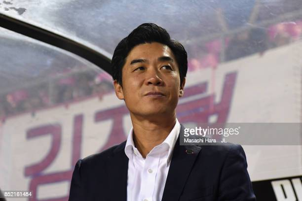 Head coach Yoon Jung Hwan of Cerezo Osaka looks on prior to the JLeague J1 match between Cerezo Osaka and Vegalta Sendai at Kincho Stadium on...