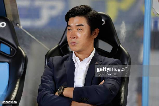 Head coach Yoon Jung Hwan of Cerezo Osaka looks on prior to the JLeague J1 match between Kawasaki Frontale and Cerezo Osaka at Todoroki Stadium on...
