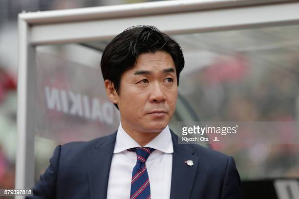 Head coach Yoon Jung Hwan of Cerezo Osaka looks on prior to the JLeague J1 match between Cerezo Osaka and Vissel Kobe at Yanmar Stadium Nagai on...