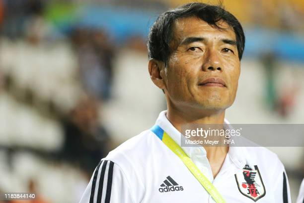 Head Coach Yoshiro Moriyama of Japan looks on before the Group D Match between Japan and Netherlands in the FIF U-17 World Cup Brazil 2019 on October...