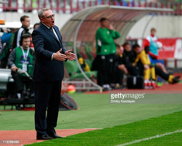 Head coach Yuri Krasnozhan of FC Lokomotiv Moscow gestures during the Russian Football League Championship match between FC Lokomotiv Moscow and FC...