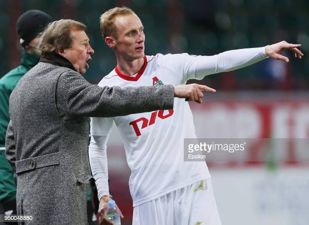 Head coach Yuri Semin and Vladislav Ignatyev of FC Lokomotiv Moscow reacts during Russian Premier League between FC Lokomotiv Moscow and FC Ufa at...