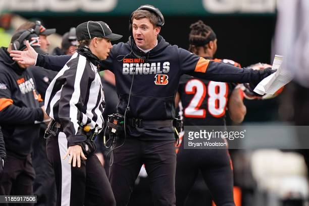 Head coach Zac Taylor of the Cincinnati Bengals agues with an official during the second half of NFL football game against the New York Jets at Paul...