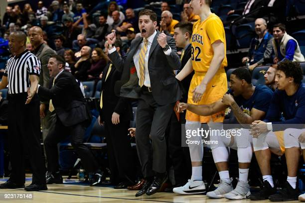 Head coach Zach Spiker of the Drexel Dragons reacts during the second half at the Daskalakis Athletic Center on February 22 2018 in Philadelphia...