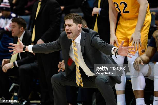 Head coach Zach Spiker of the Drexel Dragons yells to his team against the Delaware Fightin Blue Hens during the second half at the Daskalakis...