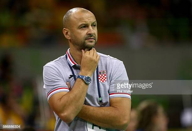 Head coach Zejlko Babic of Croatia looks on during the Men's Preliminary Group A match between Croatia and Qatar on Day 2 of the Rio 2016 Olympic G