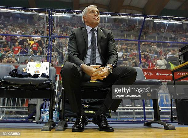 Head coach Zeljko Obradovic of Fenerbahce Istanbul looks on prior the Turkish Airlines Euroleague Basketball Top 16 Round 2 game between Crvena...