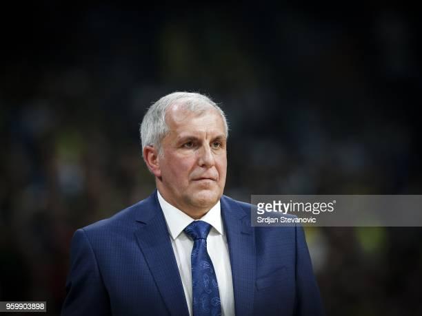 Head coach Zeljko Obradovic of Fenerbahce looks in during the Turkish Airlines Euroleague Final Four Belgrade 2018 Semifinal match between Fenerbahce...