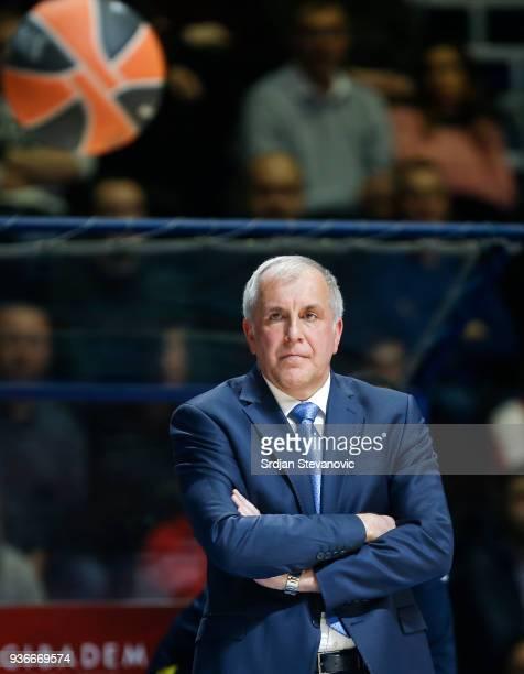 Head coach Zeljko Obradovic of Fenerbahce looks on during the 2017/2018 Turkish Airlines EuroLeague Regular Season Round 28 game between Crvena...