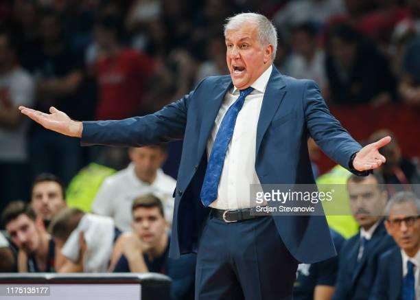 head coach Zeljko Obradovic of Fenerbahce reacts during the 2019/2020 Turkish Airlines EuroLeague Regular Season Round 2 match between Crvena Zvezda...