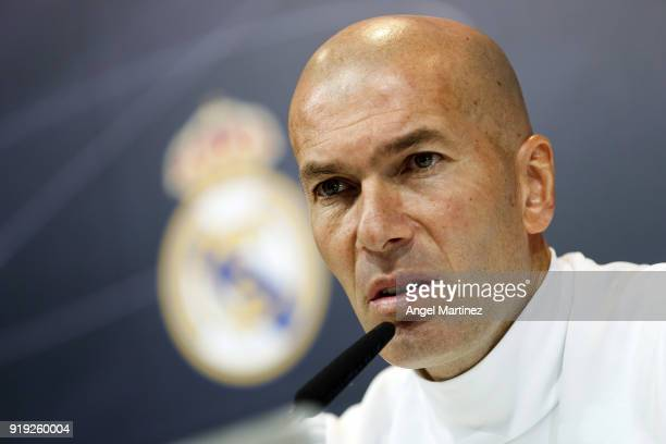 Head coach Zidane Zidane of Real Madrid attends a press conference at Valdebebas training ground on February 17 2018 in Madrid Spain