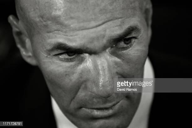 Head coach Zinedin Zidane of Real Madrid CF looks on prior to the Liga match between Villarreal CF and Real Madrid CF at Estadio de la Ceramica on...