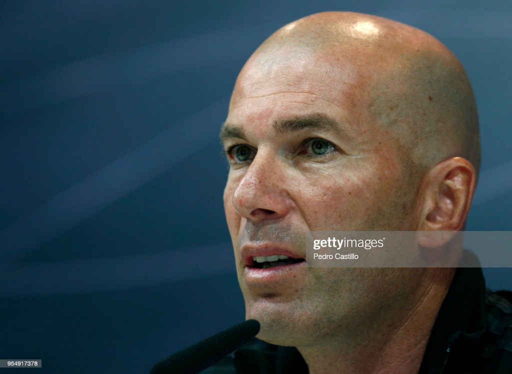 Head coach Zinedine Zidane attends a press conference at Valdebebas training ground on May 5, 2018 in Madrid, .