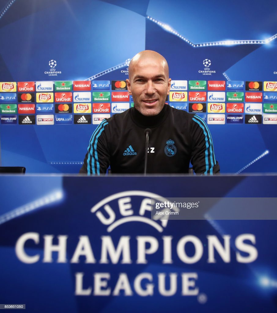Head coach Zinedine Zidane attends a Real Madrid press conference ahead of their UEFA Champions League Group H match against Borussia Dortmund at Signal Iduna Park on September 25, 2017 in Dortmund, Germany.