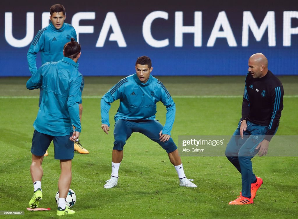 Head coach Zinedine Zidane, Cristiano Ronaldo, Gareth Bale and Alvaro Tejero attend a Real Madrid training session ahead of their UEFA Champions League Group H match against Borussia Dortmund at Signal Iduna Park on September 25, 2017 in Dortmund, Germany.
