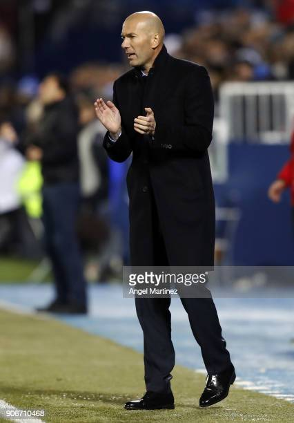 Head coach Zinedine Zidane of Real Madrid applauds during the Spanish Copa del Rey Quarter Final First Leg match between Leganes and Real Madrid at...