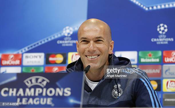 Head coach Zinedine Zidane of Real Madrid attends a press conference at Valdebebas training ground on March 7 2016 in Madrid Spain