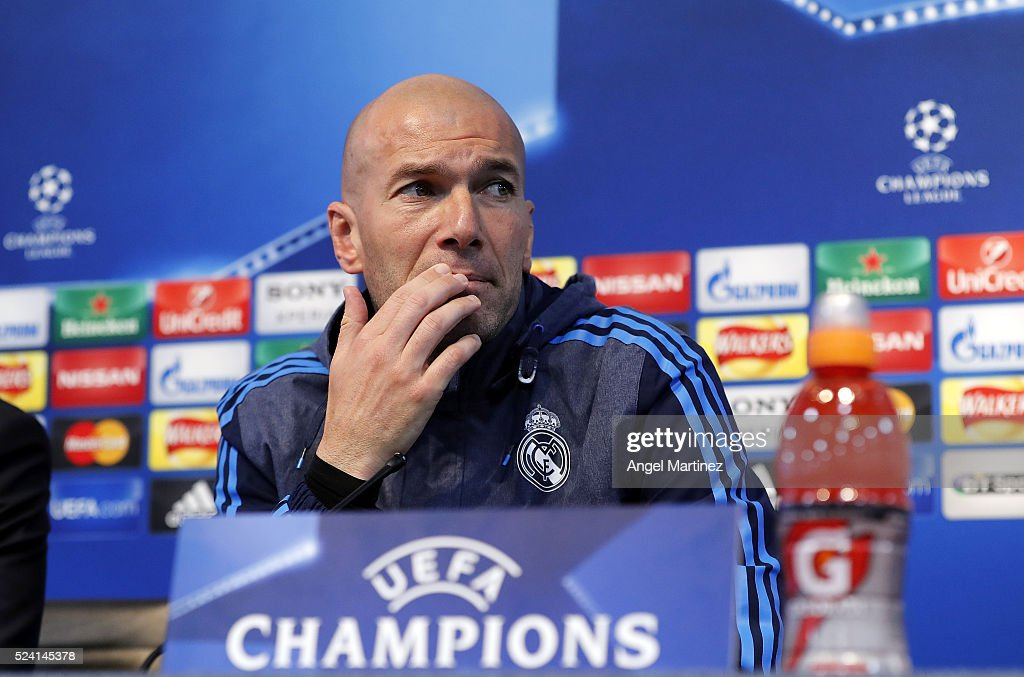 Head coach Zinedine Zidane of Real Madrid attends a press conference ahead of the UEFA Champions League Semi Final match between Manchester City FC and Real Madrid at the Etihad Stadium on April 25, 2016 in Manchester, United Kingdom.