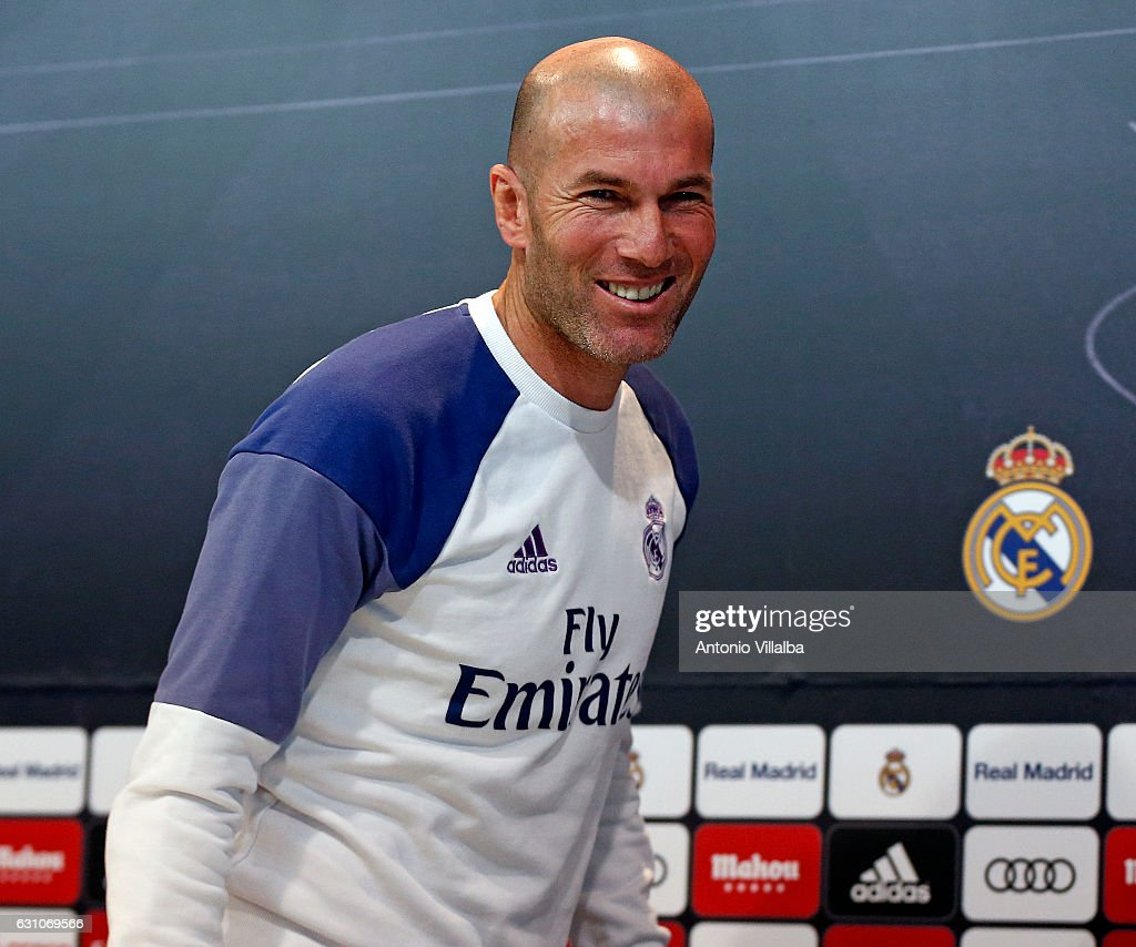 Head coach Zinedine Zidane of Real Madrid attends a press conference at Valdebebas training ground on January 6, 2017 in Madrid, Spain.