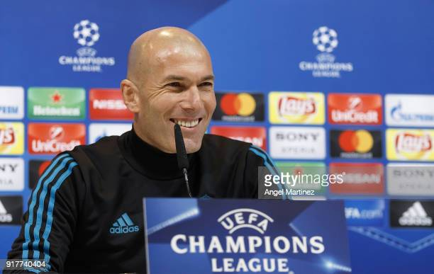 Head coach Zinedine Zidane of Real Madrid attends a press conference at Valdebebas training ground on February 13 2018 in Madrid Spain