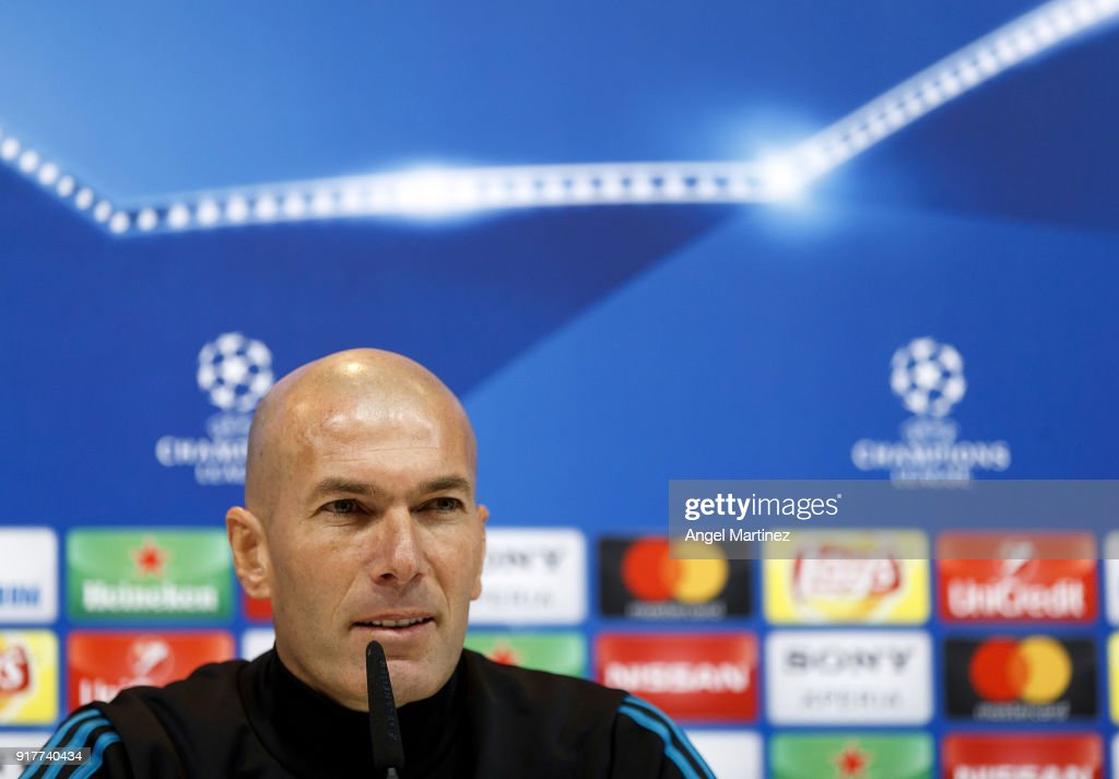 Head coach Zinedine Zidane of Real Madrid attends a press conference at Valdebebas training ground on February 13, 2018 in Madrid, Spain.