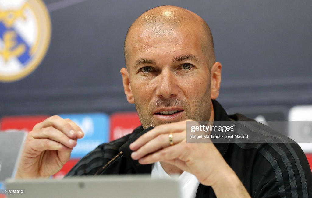 Head coach Zinedine Zidane of Real Madrid attends a press conference at Valdebebas training ground on April 14, 2018 in Madrid, Spain.