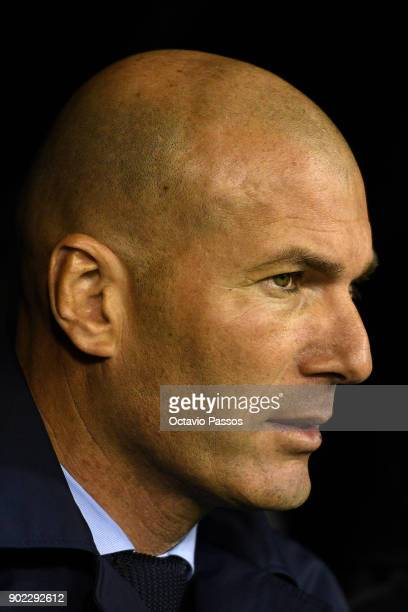 Head coach Zinedine Zidane of Real Madrid during the La Liga match between RC Celta de Vigo and Real Madrid at Municipal Balaidos on January 7 2018...