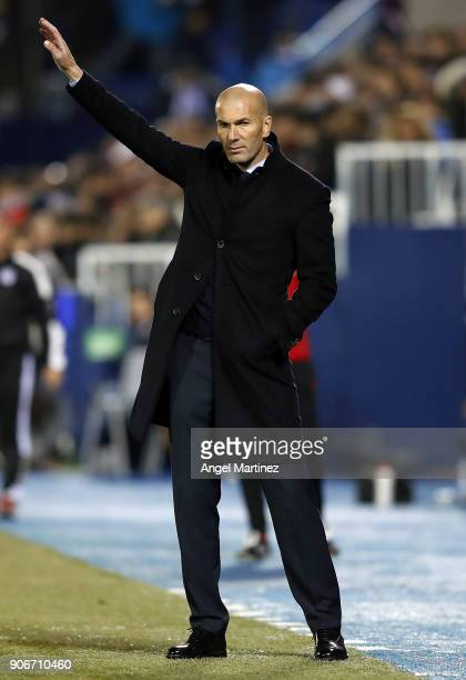Head coach Zinedine Zidane of Real Madrid gestures during the Spanish Copa del Rey Quarter Final First Leg match between Leganes and Real Madrid at...