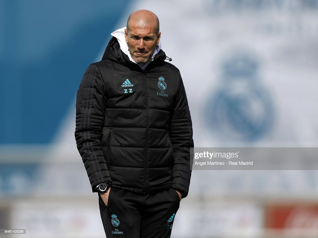 Head coach Zinedine Zidane of Real Madrid looks on during a training session at Valdebebas training ground on April 14, 2018 in Madrid, Spain.