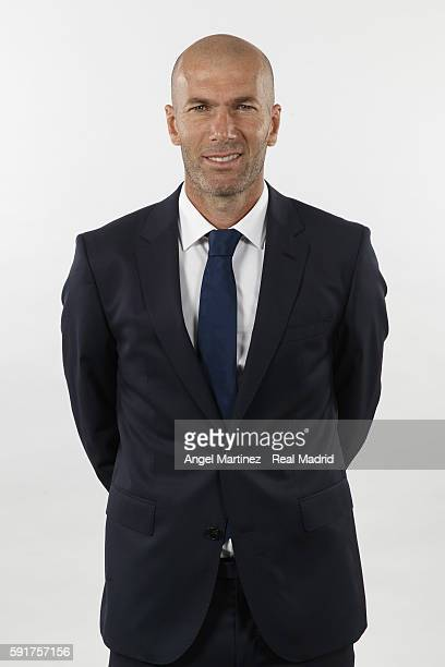 Head coach Zinedine Zidane of Real Madrid poses during a portrait session at Valdebebas training ground on August 18 2016 in Madrid Spain