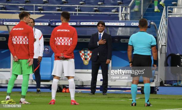 Head coach Zlatko Dalic of Croatia reacts before the UEFA Nations League group stage match between France and Croatia at Stade de France on September...