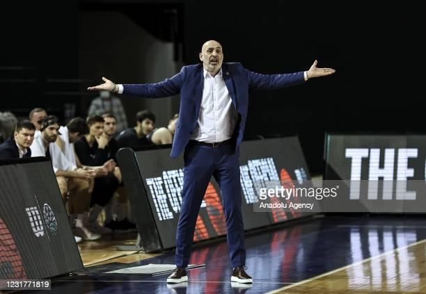 Head Coach Zoran Lukic of Nizhny Novgorod gestures during FIBA Champions League play-off Group K match between Turk Telekom and Nizhny Novgorod in...