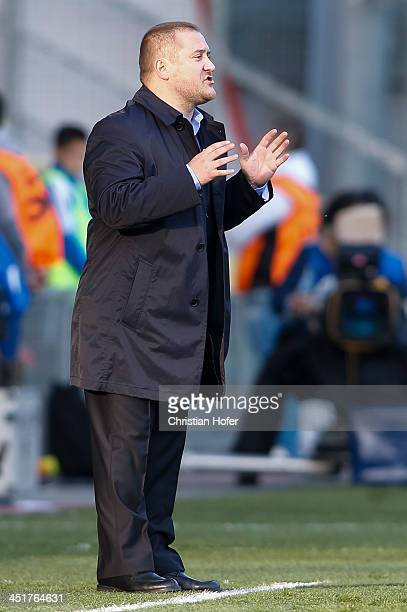 Head coach Zsolt Pakusza of Slovakia reacts on the touchline during the FIFA Women's World Cup 2015 Qualifier between Slovakia and Germany at Stadion...