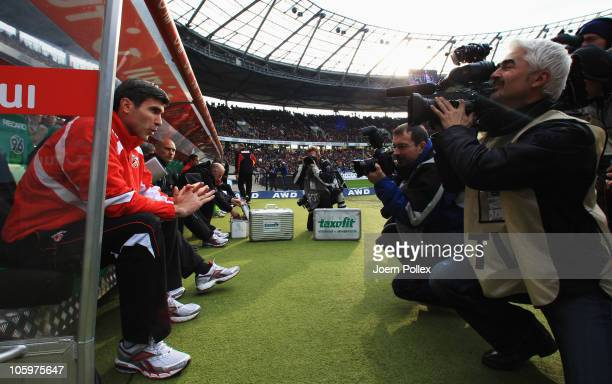 Head coach Zvonimir Soldo of Koelnlooks on prior to the Bundesliga match between Hannover 96 and 1. FC Koeln at AWD Arena on October 23, 2010 in...