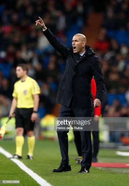 Head coacha Zinedine ZIdane of Real Madrid to reacts during the La Liga match between Real Madrid and Getafe at Estadio Santiago Bernabeu on March 03...