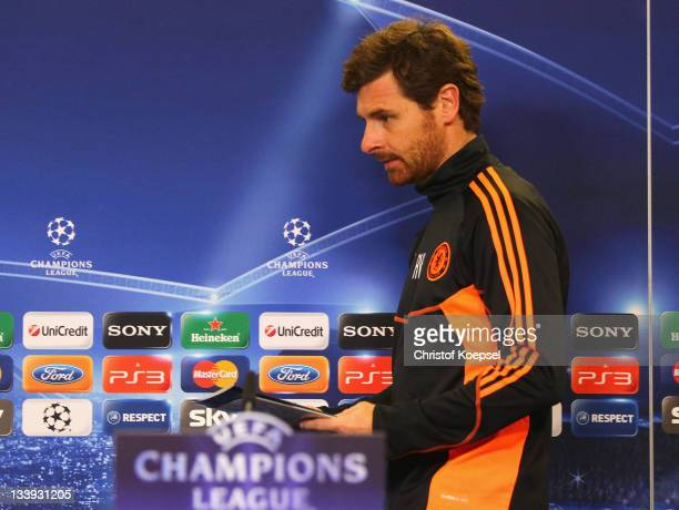Head coachAndré VillasBoas attends the Chelsea FC press conference at BayArena on November 22 2011 in Leverkusen Germany