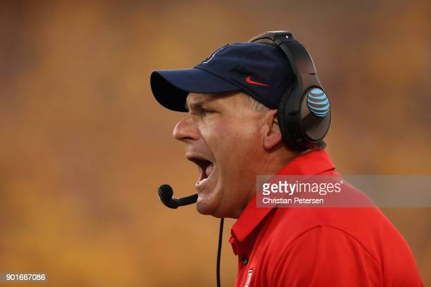 Head coache Rich Rodriguez of the Arizona Wildcats reacts on the sidelines during the second half of the college football game against the Arizona...
