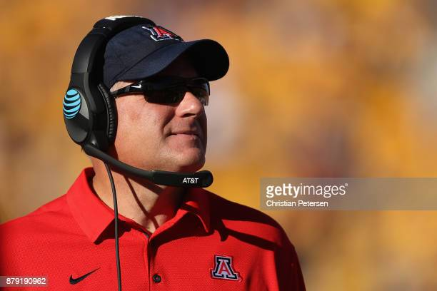 Head coache Rich Rodriguez of the Arizona Wildcats watches from the sidelines during the first half of the college football game against the Arizona...