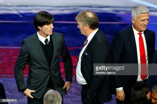 Head coaches Age Hareide of Denmark Joachim Low of Germany and Vladimir Petkovic of Switzerland are seen after the 2018 FIFA World Cup Russia Final...