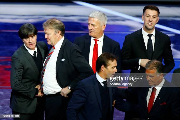 Head coaches Age Hareide of Denmark Joachim Low of Germany Vladimir Petkovic of Switzerland Mladen Krstaljic of Serbia are seen after the 2018 FIFA...