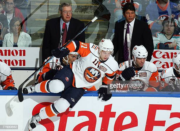 Head coaches Al Arbour and Ted Nolan of the New York Islanders look on against the Pittsburgh Penguins during their game on November 3 2007 at Nassau...