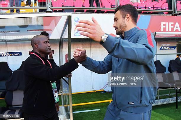 Head coaches Baye Ba of Mali and Dario Basic of Croatia shake hands prior to the FIFA U17 World Cup Chile 2015 Quarter Final match between Croatia...