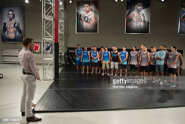 Head coaches Conor McGregor and Urijah Faber prepare to pick the fighters for their next fight during the filming of The Ultimate Fighter: Team...