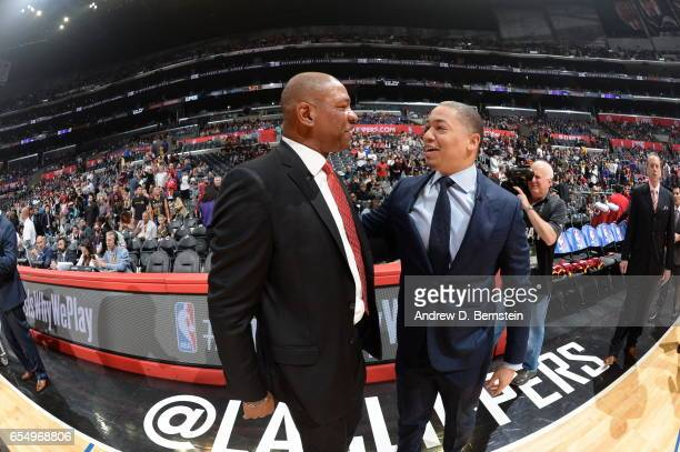 Head Coaches Doc Rivers of the LA Clippers and Tyronn Lue of the Cleveland Cavaliers are seen before the game on March 18 2017 at STAPLES Center in...