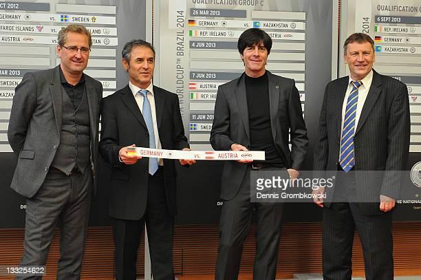 Head coaches Erik Hamren of Sweden, Marcel Koller of Austria, Joachim Loew of Germany and Miroslav Beranek of Kazakhstan pose during the DFB Press...
