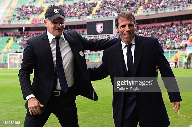 Head coaches Giuseppe Iachini of Palermo greets Gianfranco Zola head coach of Cagliari during the Serie A match between US Citta di Palermo and...
