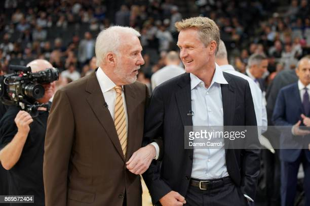 Head Coaches Gregg Popovich of the San Antonio Spurs and Steve Kerr of the Golden State Warriors talk before the game on November 2 2017 at the ATT...