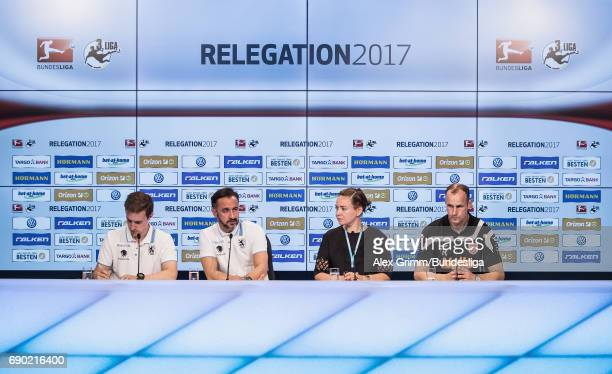 Head coaches Heiko Herrlich of Regensburg and Vitor Pereira of 1860 Muenchen attend the press conference after the 2 Bundesliga Playoff leg 2 match...